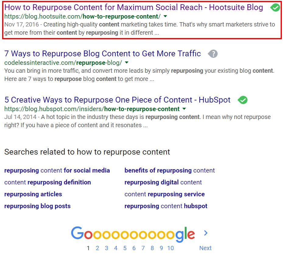 Content ranked on first page of Google
