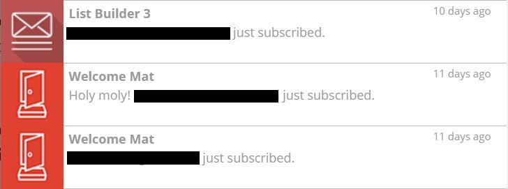 SumoMe subscribers screenshot