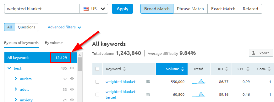 SEMrush Keyword Magic Tool Results