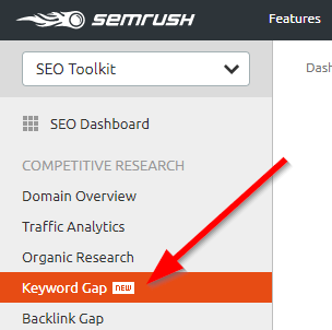 Keyword Gap Tool SEMrush