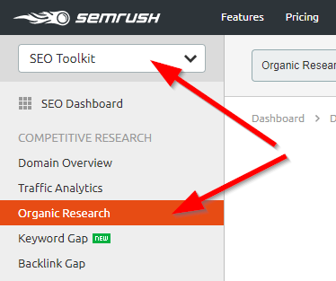 SEMrush Competitor Analysis Organic